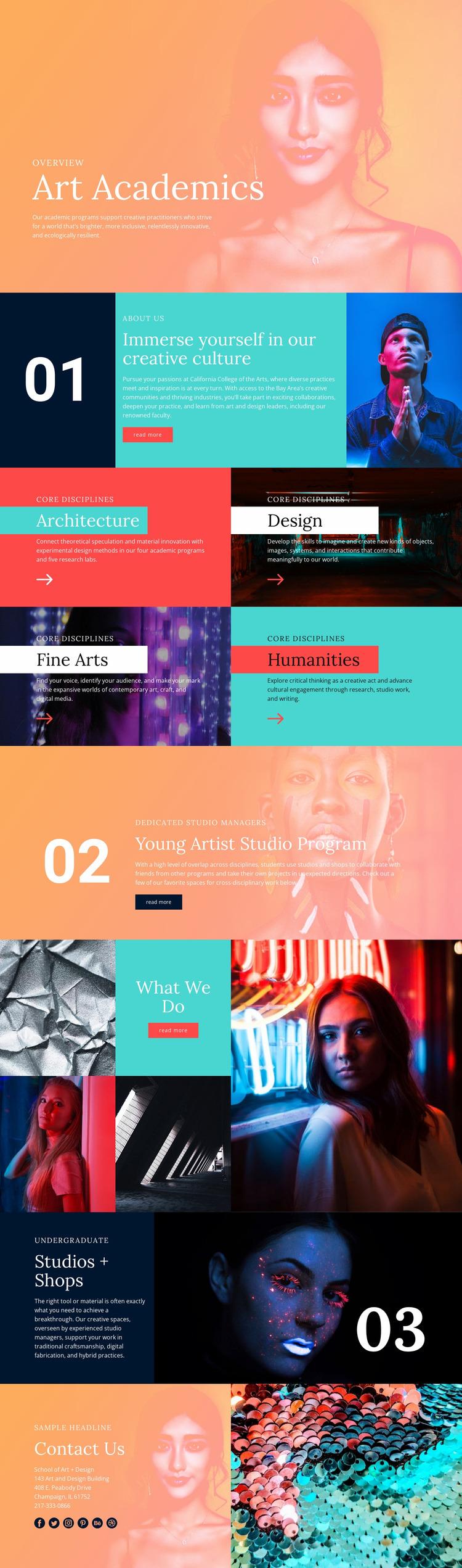 Creative culture in school Website Mockup