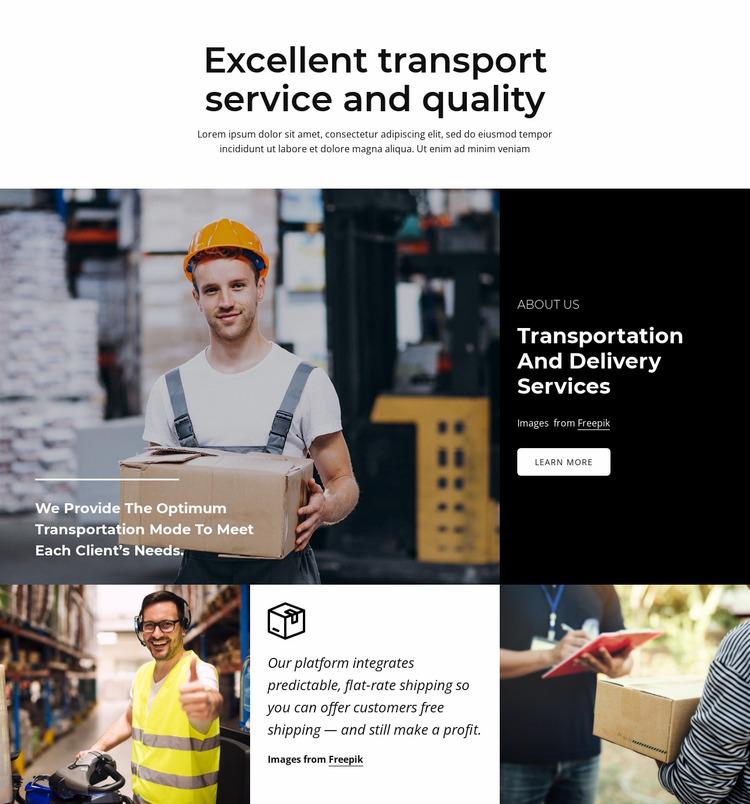 Excellent transport service Website Mockup