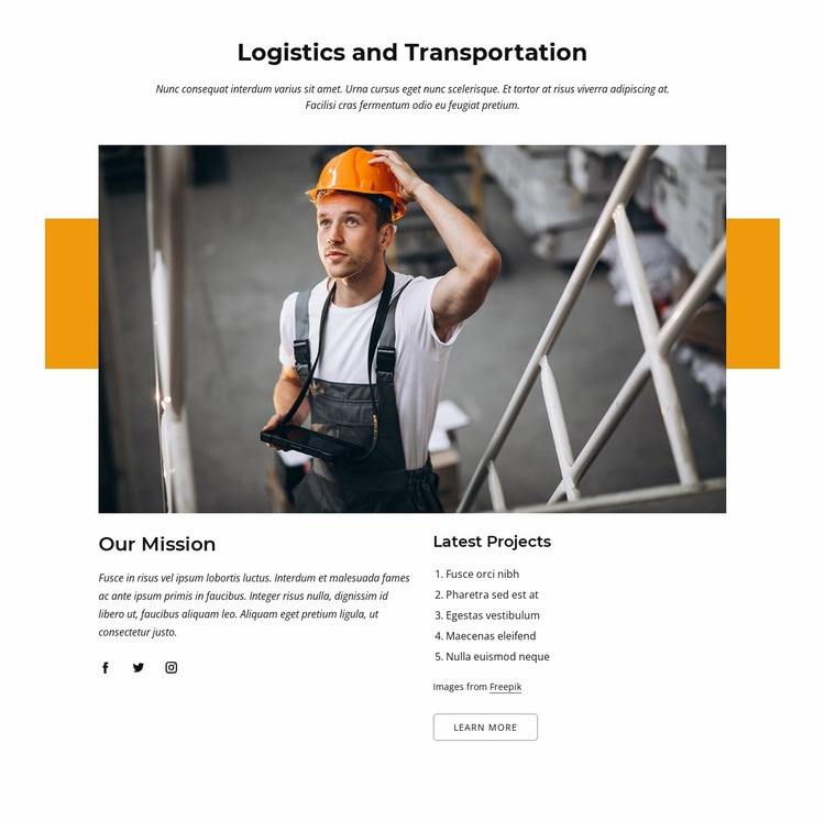 Logistics and transportation company Web Page Designer