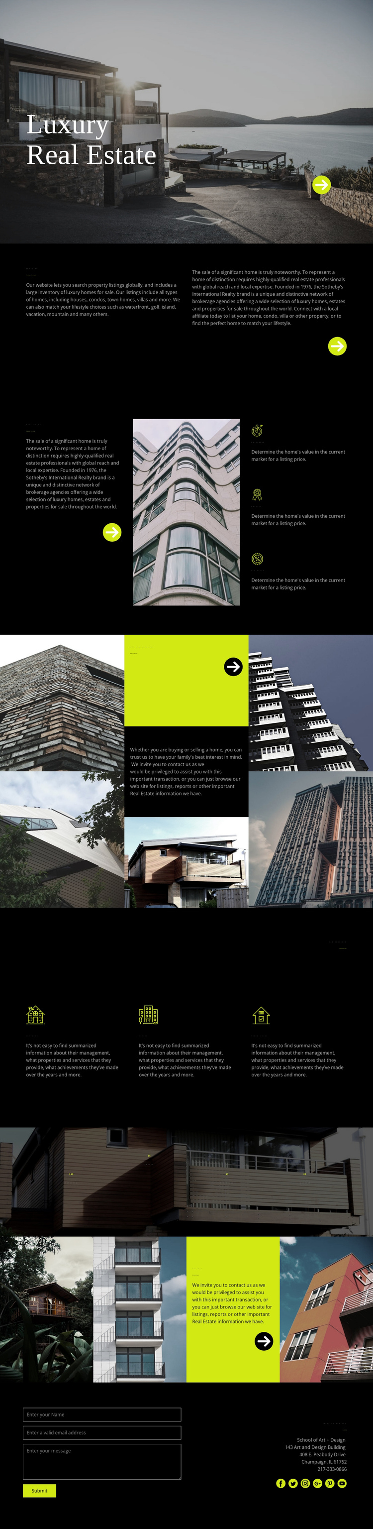 Luxury real estate One Page Template