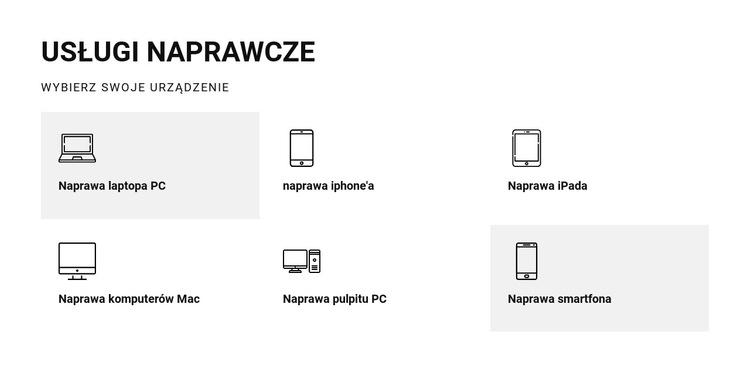 Usługi naprawcze Szablon witryny sieci Web