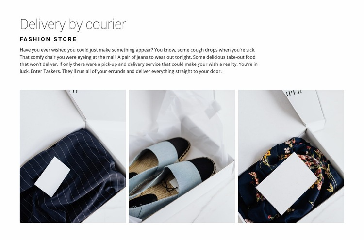 Delivery from a fashion store Web Page Designer