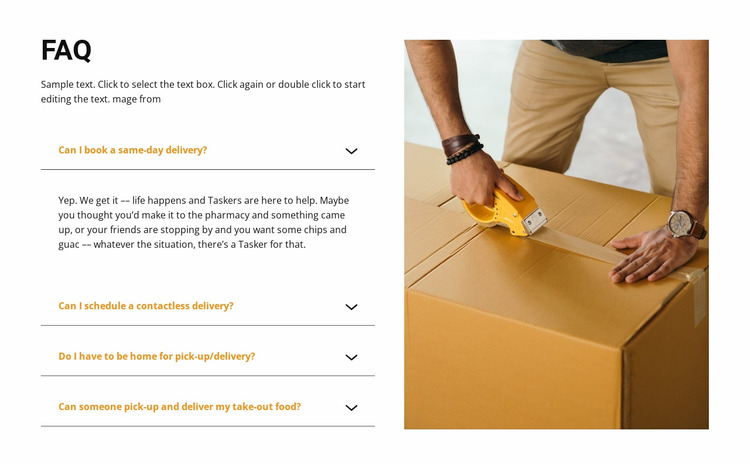 Popular delivery questions Website Mockup