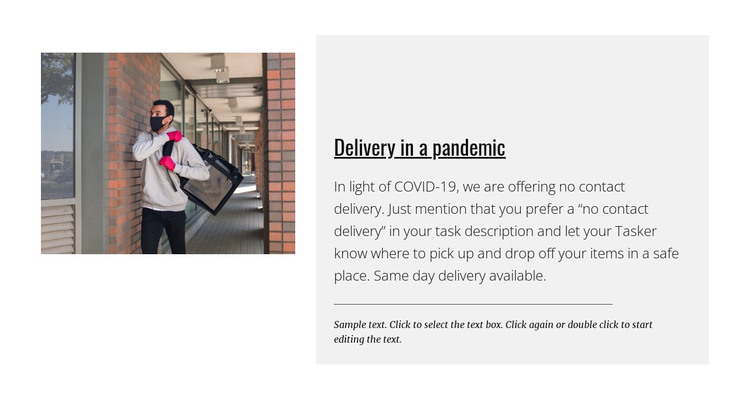 Delivery in a pandemic WordPress Theme