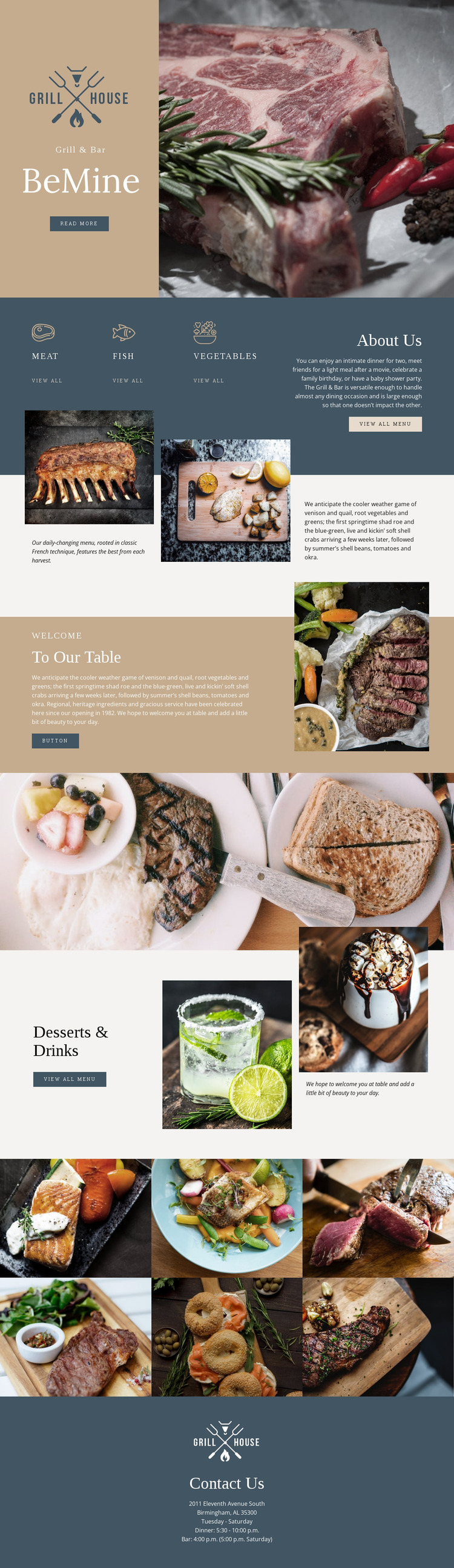 Finest grill house restaurant Website Mockup