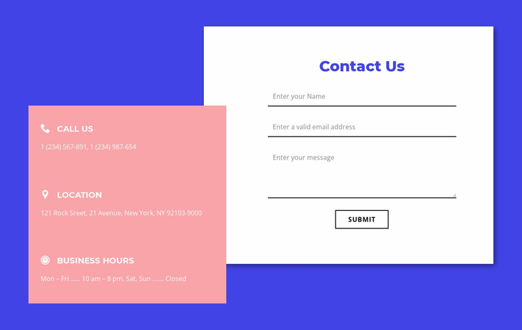 Contact form with overlapping element WordPress Website Builder
