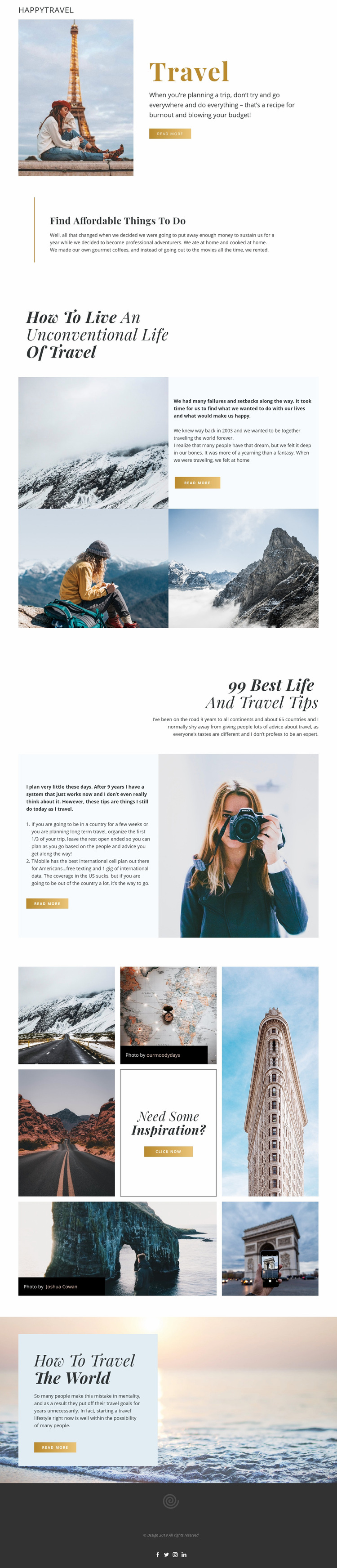 Travel Live Web Page Design