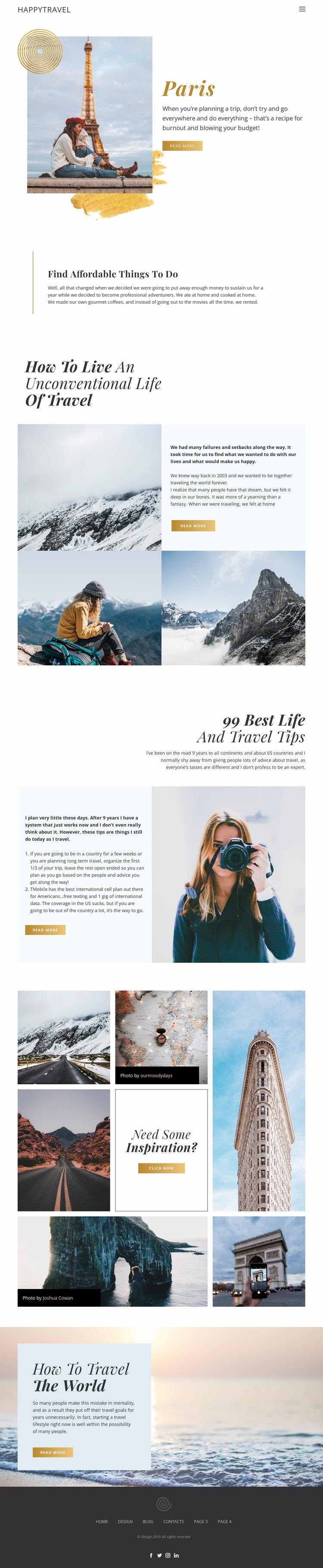 Travel Live Website Mockup