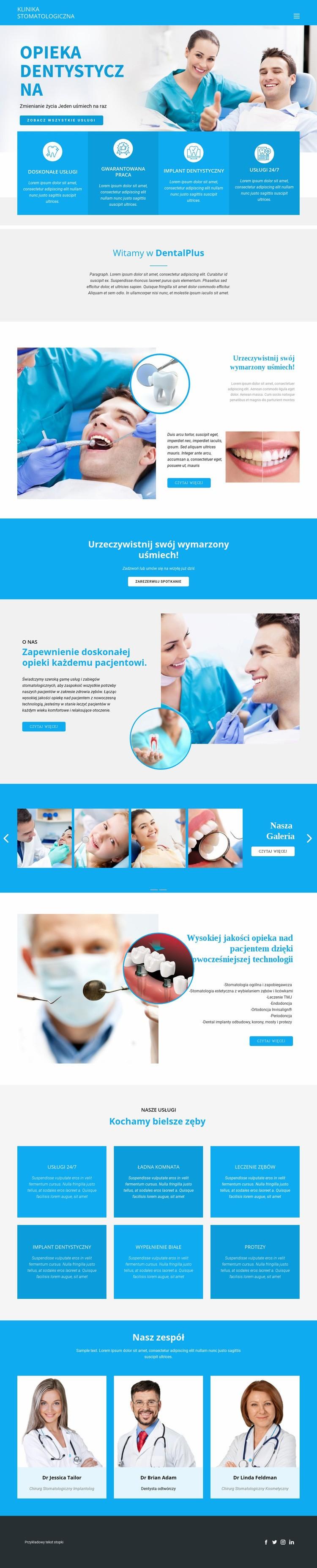 Opieka stomatologiczna i medycyna Szablon witryny sieci Web