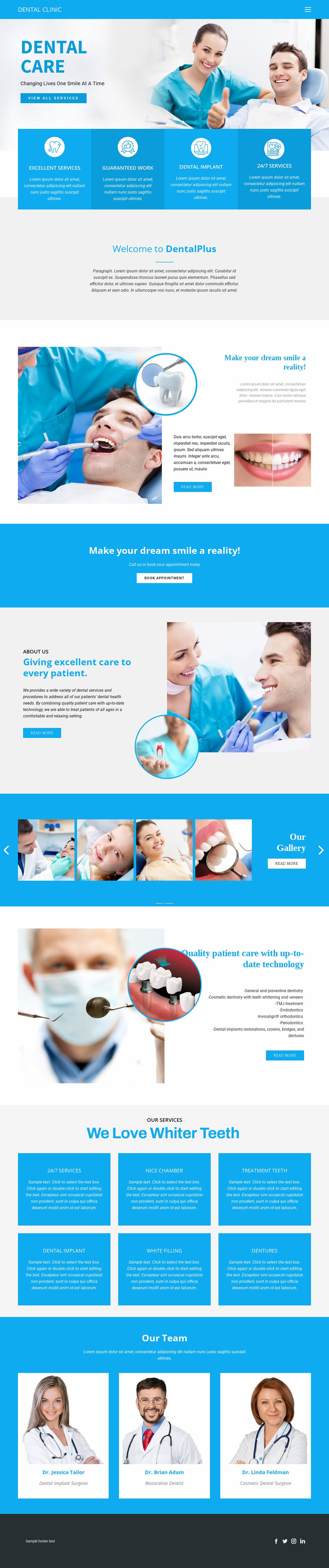 Dental care and medicine Website Mockup