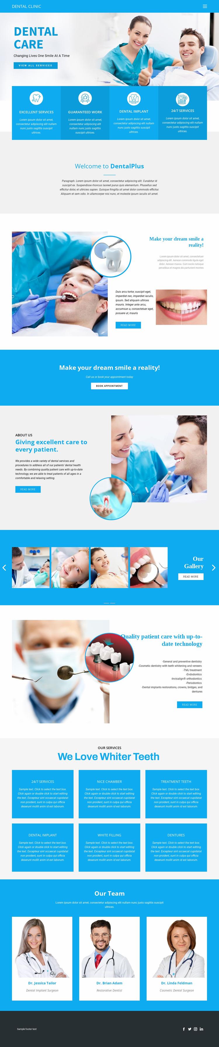 Dental care and medicine Landing Page
