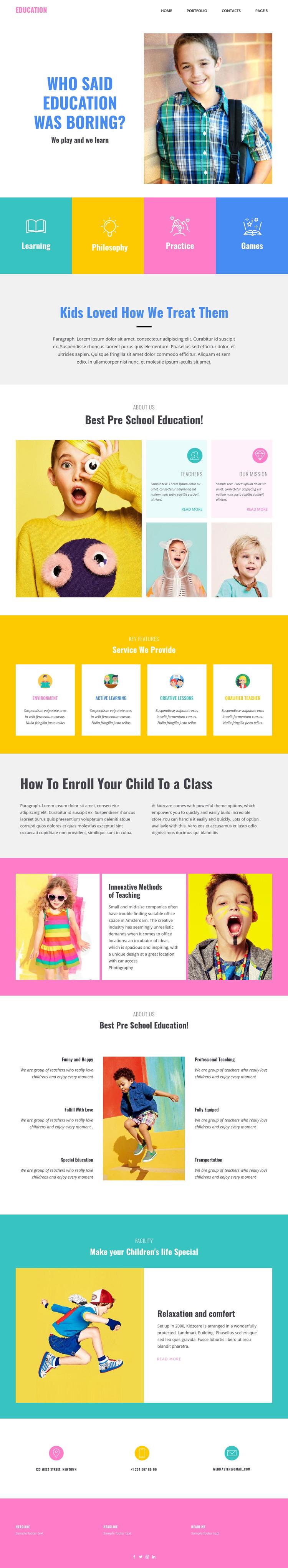 Fun of learning in school Homepage Design