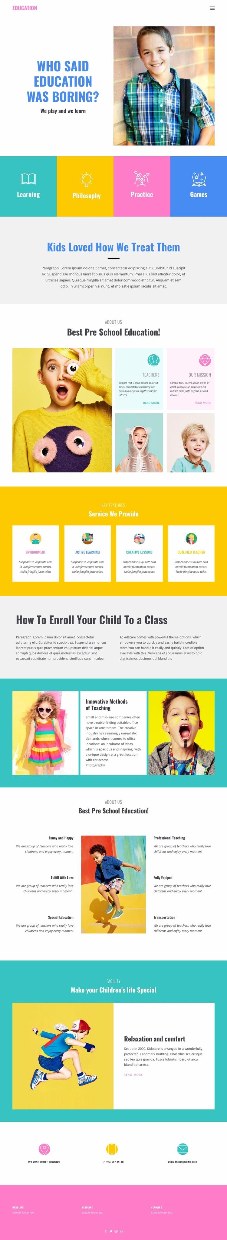 Fun of learning in school Website Design