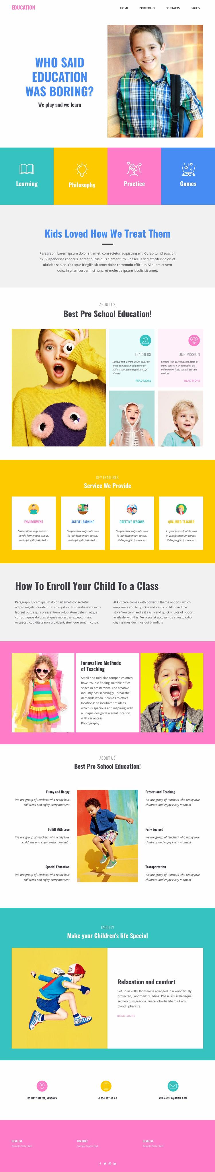 Fun of learning in school Website Maker
