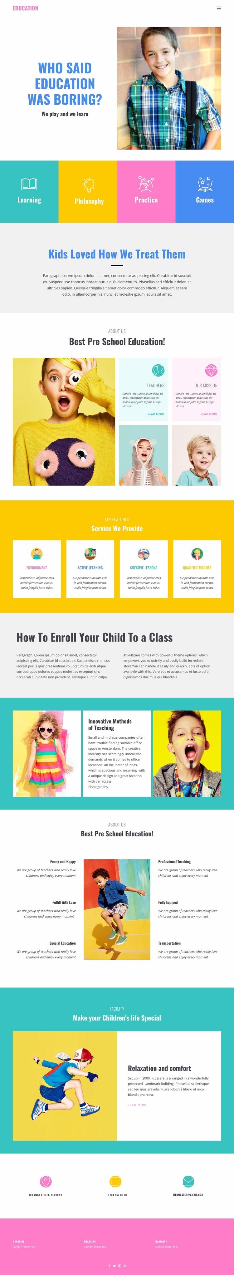 Fun of learning in school Website Mockup