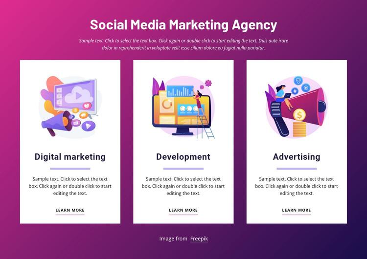 Social media marketing agency Website Builder Software