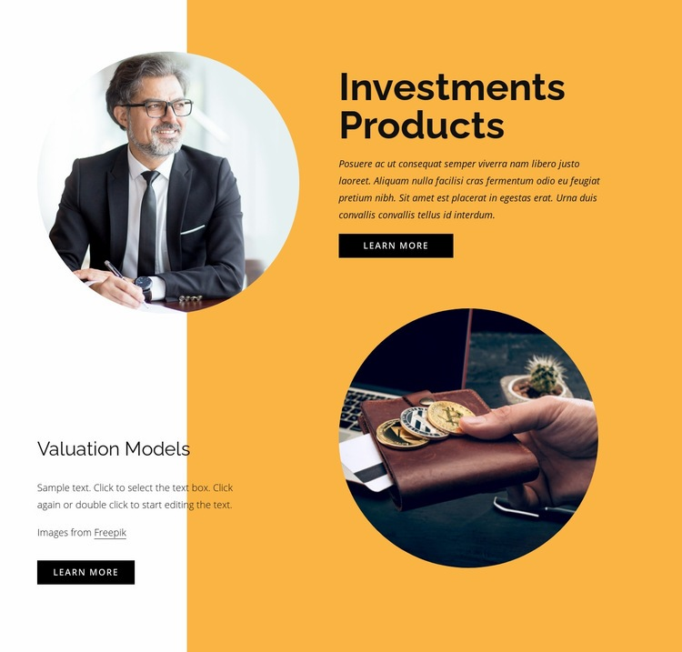 Investments products Web Page Design