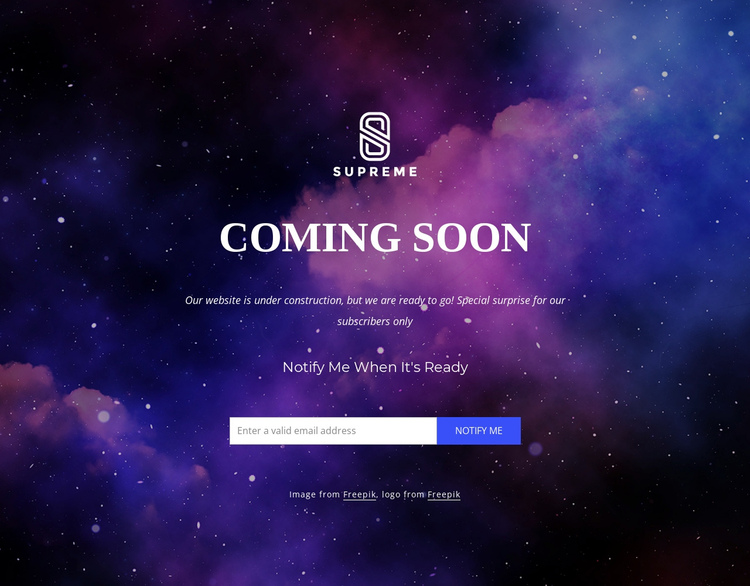 Website is coming soon One Page Template