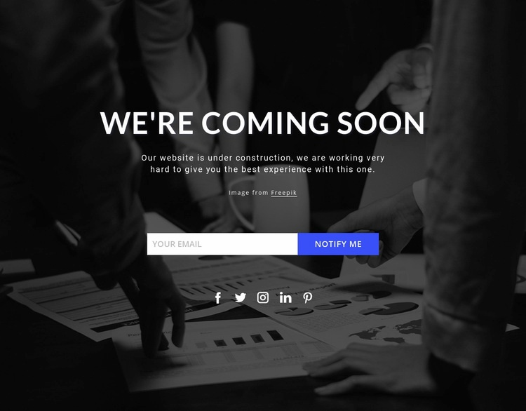 Coming soon on dark background Web Page Design
