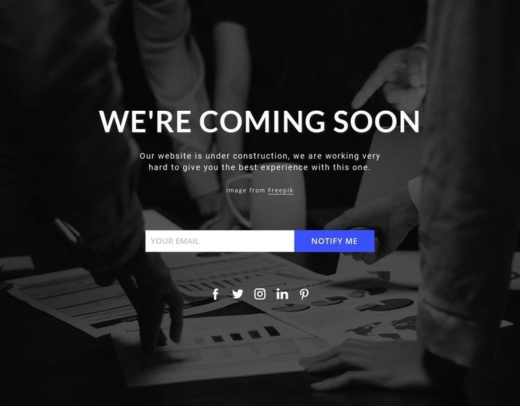 Coming soon on dark background Web Page Designer