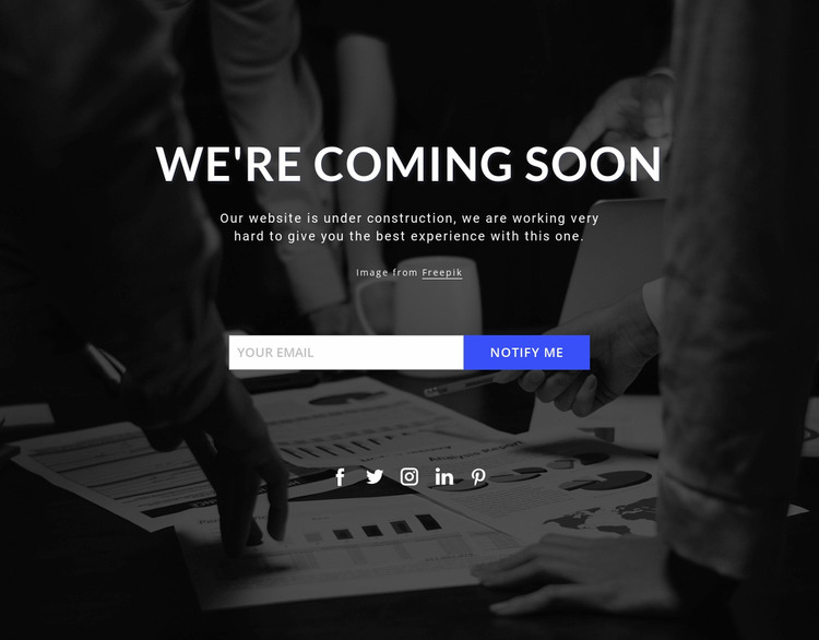 Coming soon on dark background WordPress Website Builder