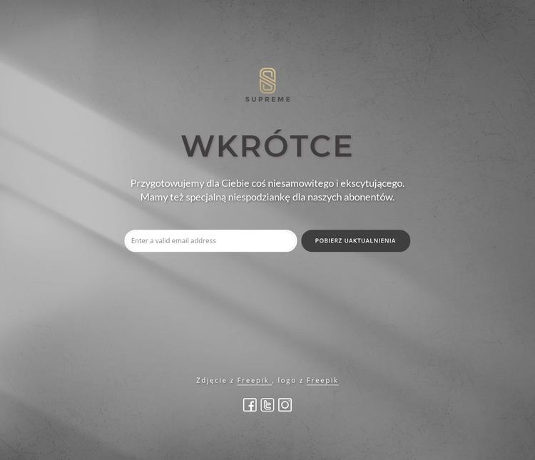 Wkrótce blok z logo Szablon witryny sieci Web
