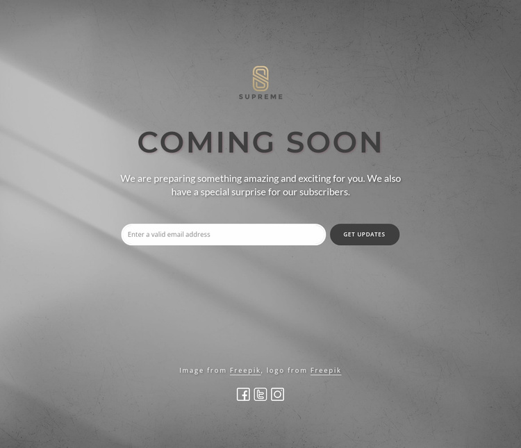 Coming soon block with logo Website Template