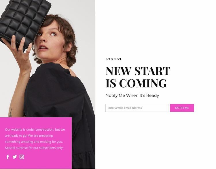 New start is coming Website Mockup