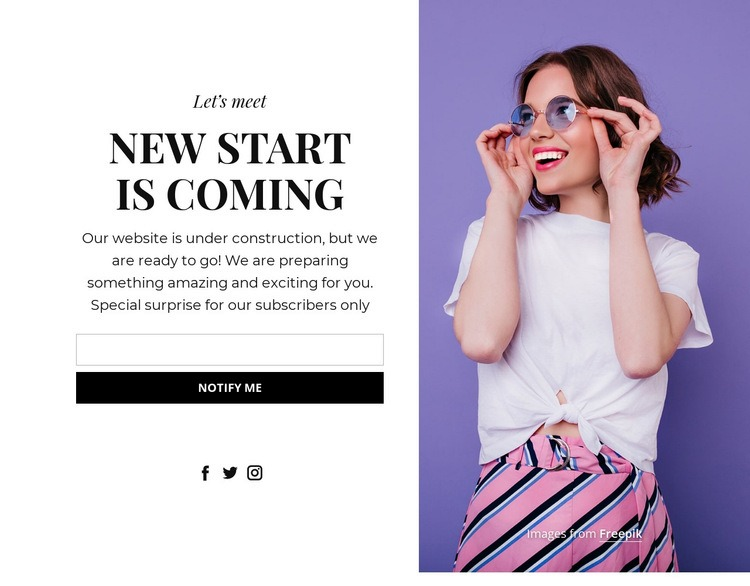 Perfect coming soon block Web Page Designer