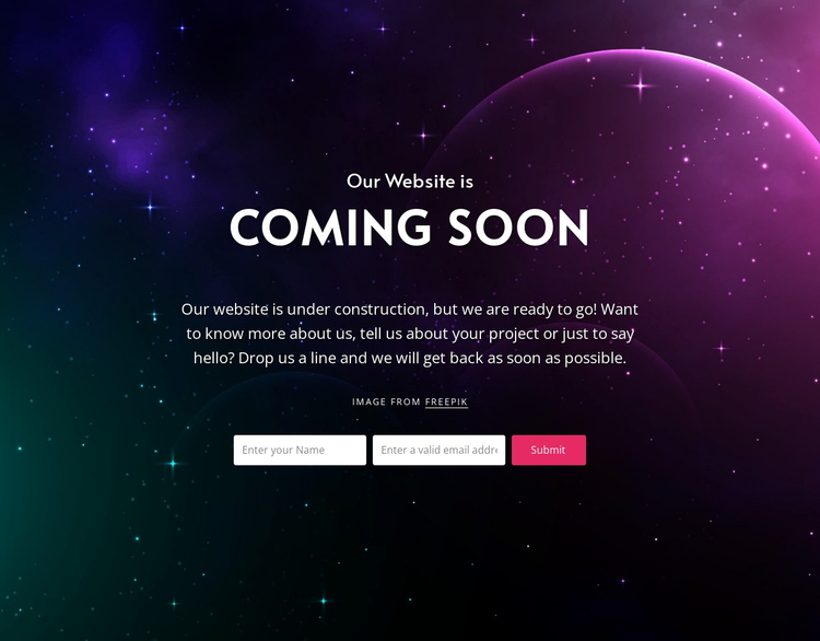 Coming soon block with background One Page Template