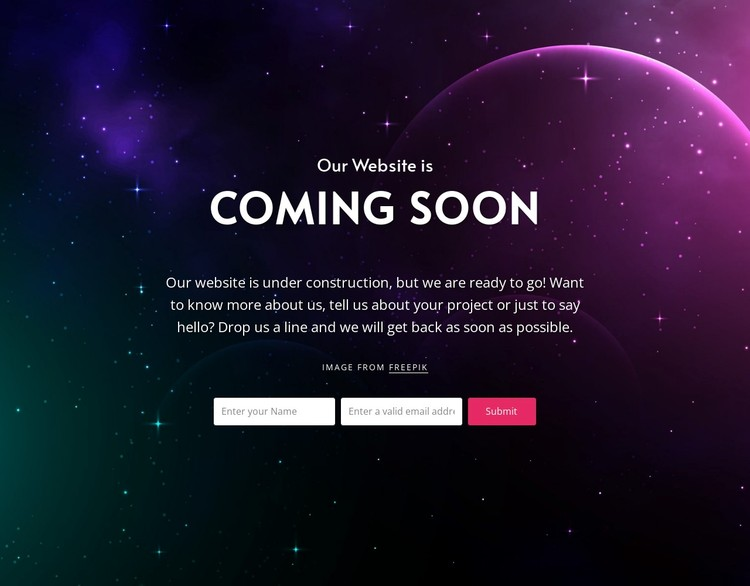 Coming soon block with background Static Site Generator