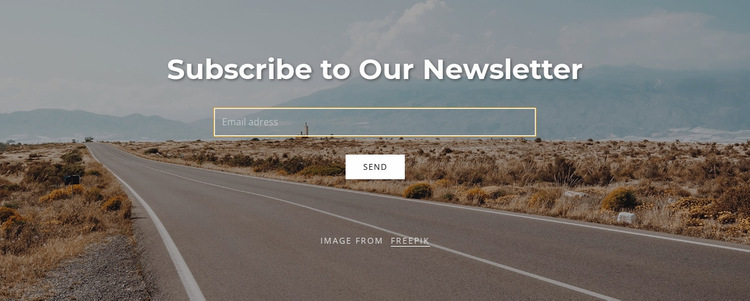 Subscribe form on background image Website Builder