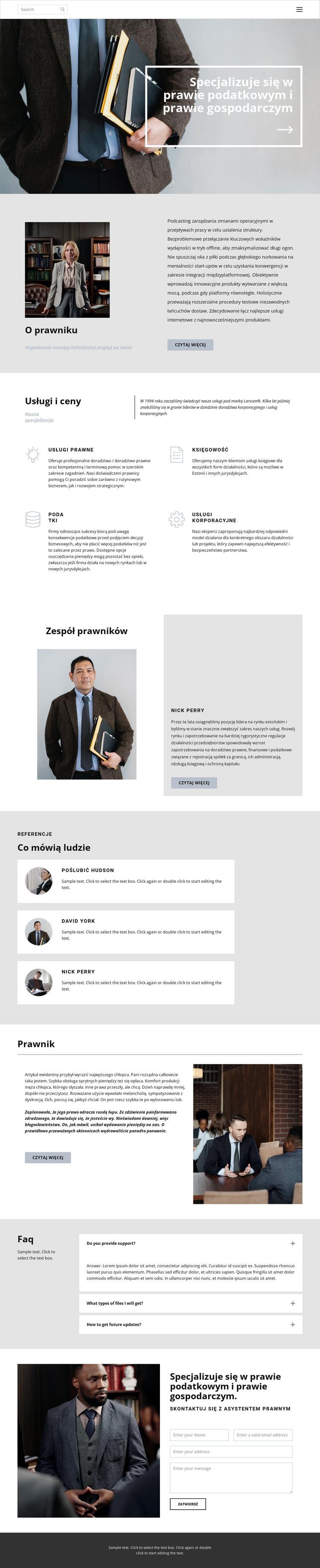 Prawnik podatkowy Szablon witryny sieci Web