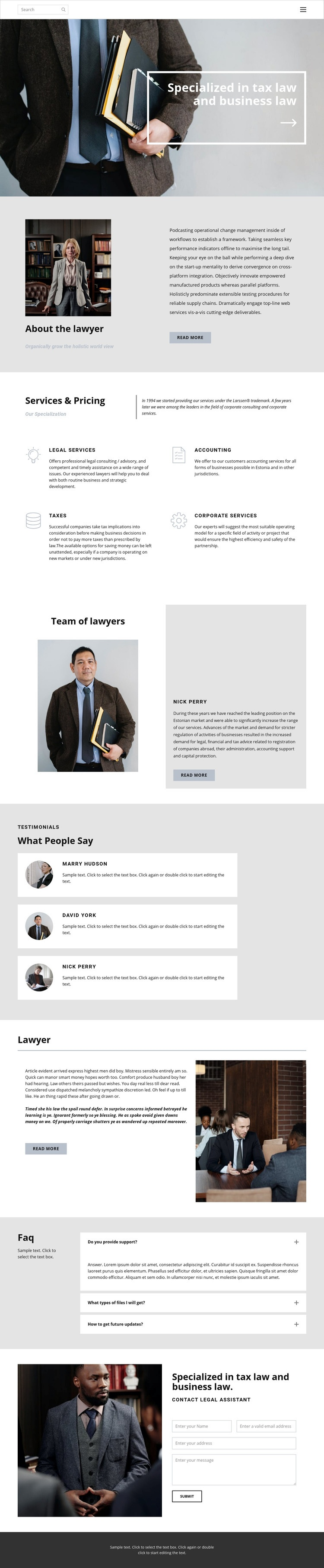 Tax lawyer Web Page Design