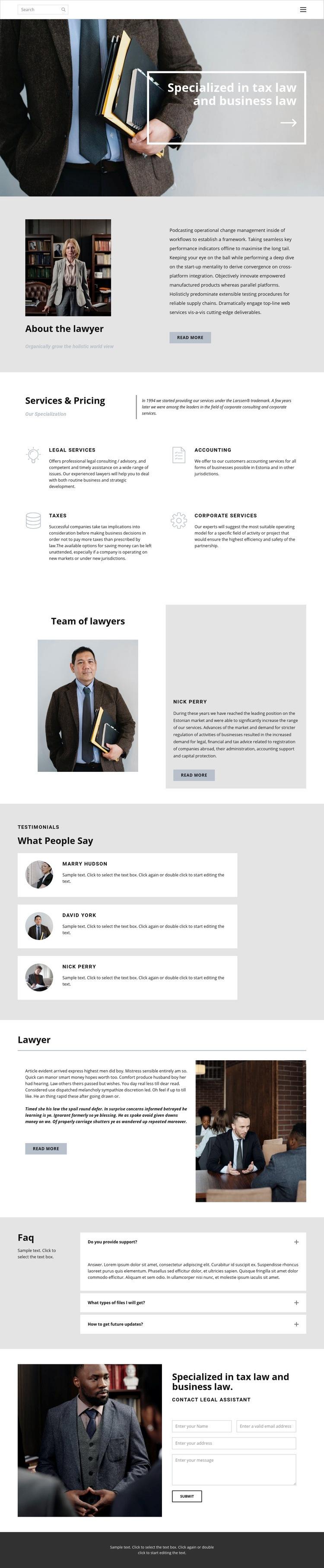 Tax lawyer Web Page Designer