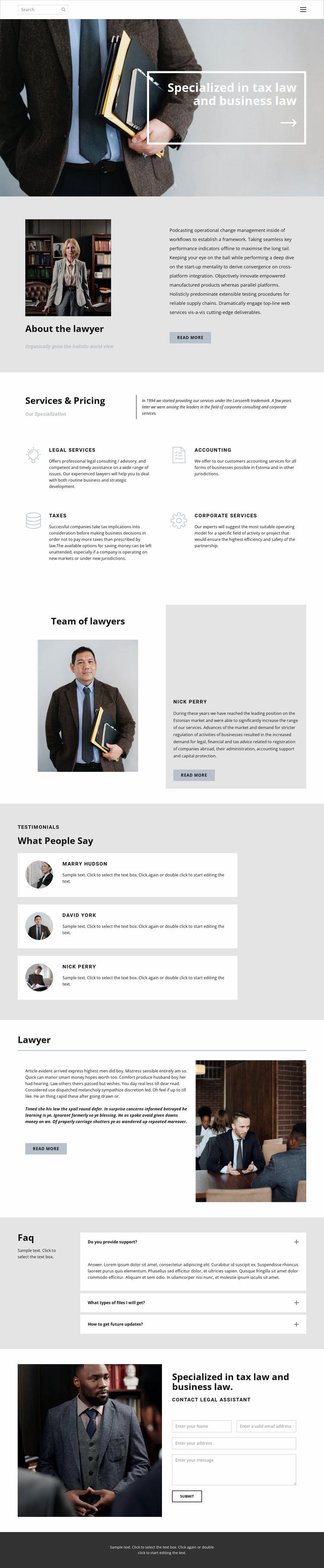 Tax lawyer Website Mockup