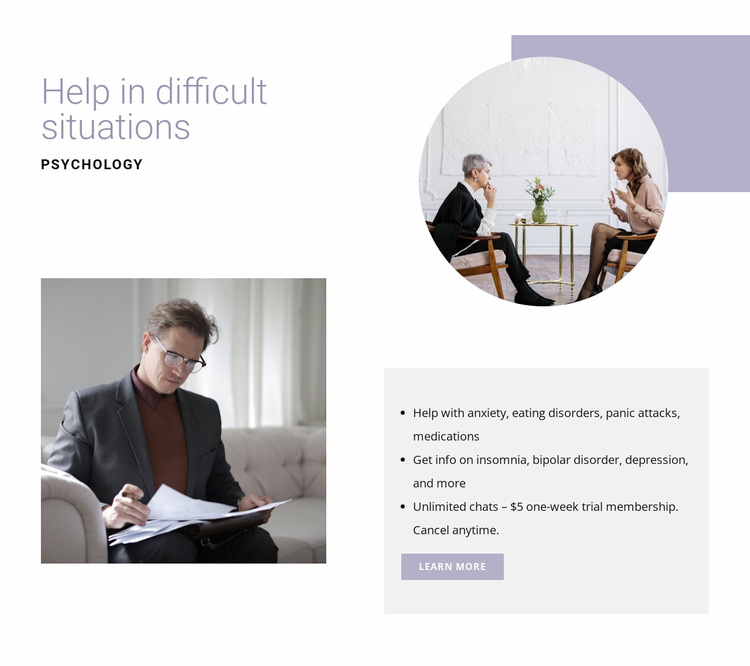 Help in difficult situations Website Template