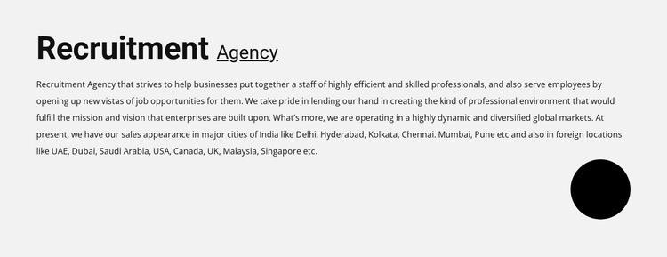 Recruitment agency Web Page Designer
