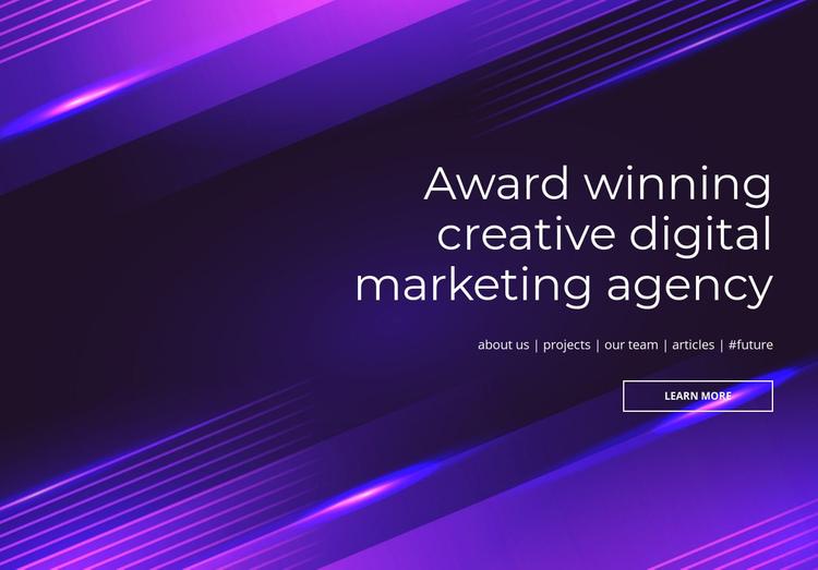 Award winning digital agency One Page Template