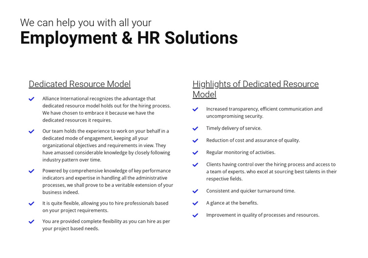 Easy employment One Page Template