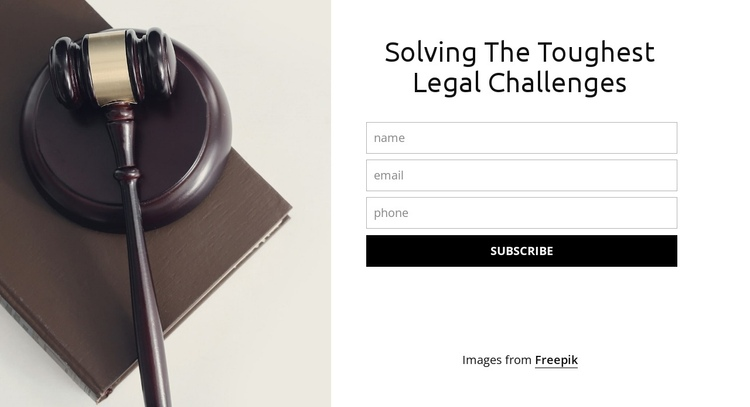 Solving the toughest legal challenges One Page Template