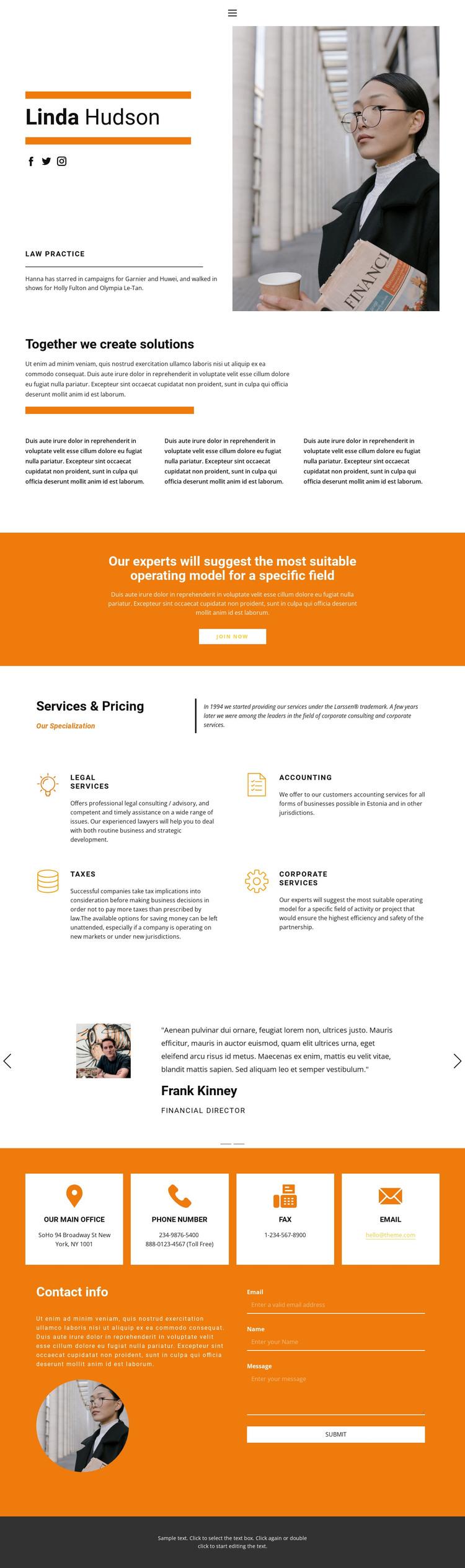 Lawyer's portfolio WordPress Theme