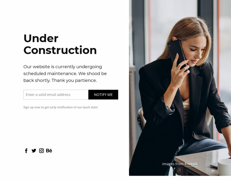The website under construction zone Html Website Builder