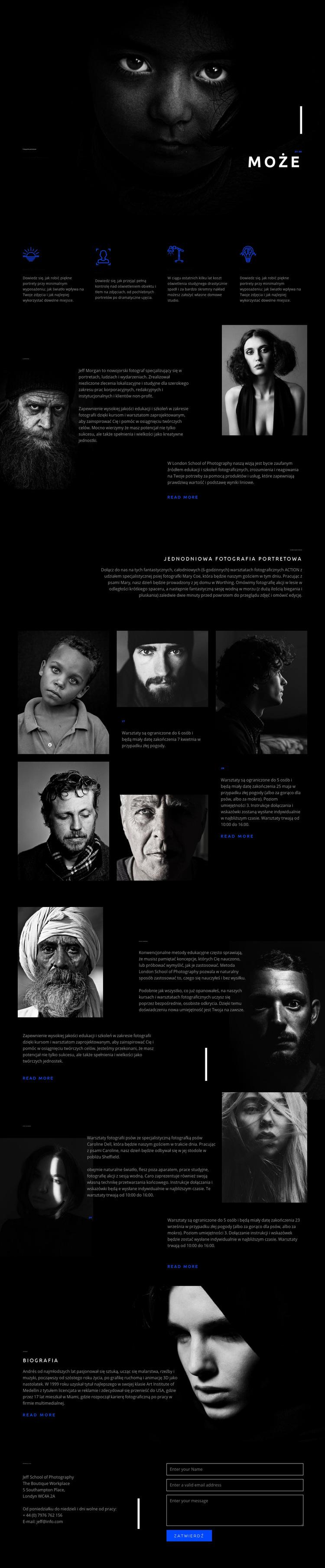 Niesamowita sztuka portretowa Szablon witryny sieci Web