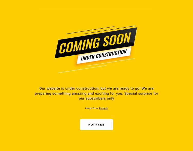 Under construction block Website Mockup