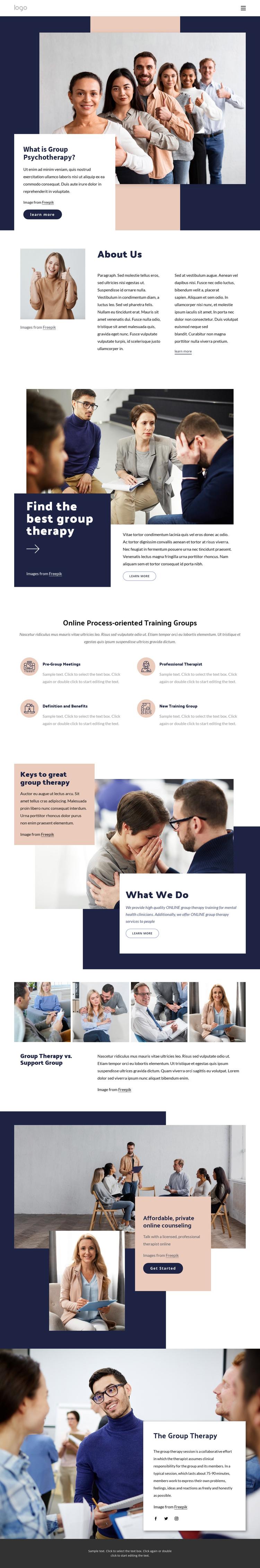 Different types of group therapy One Page Template