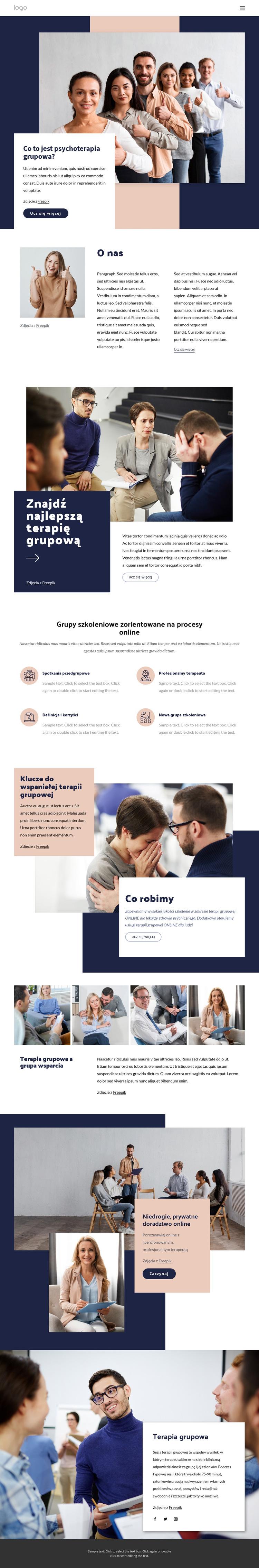 Różne rodzaje terapii grupowej Szablon witryny sieci Web