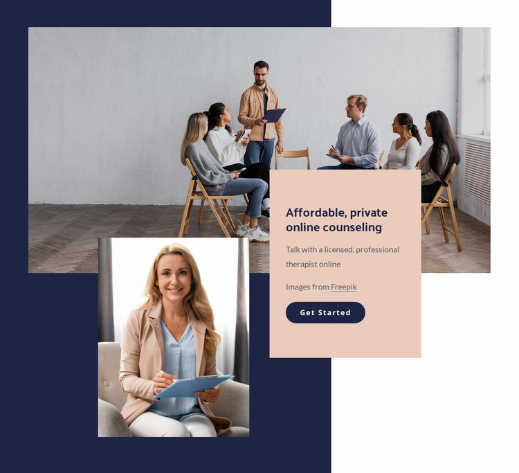 Affordable, private online counseling Website Template
