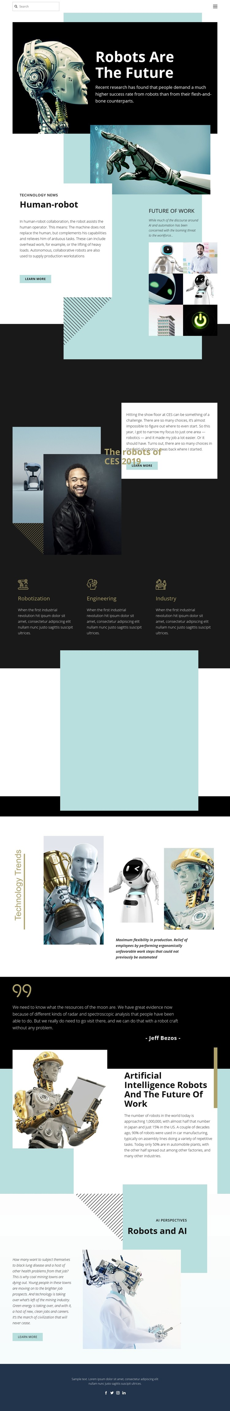 Robotic future technology One Page Template