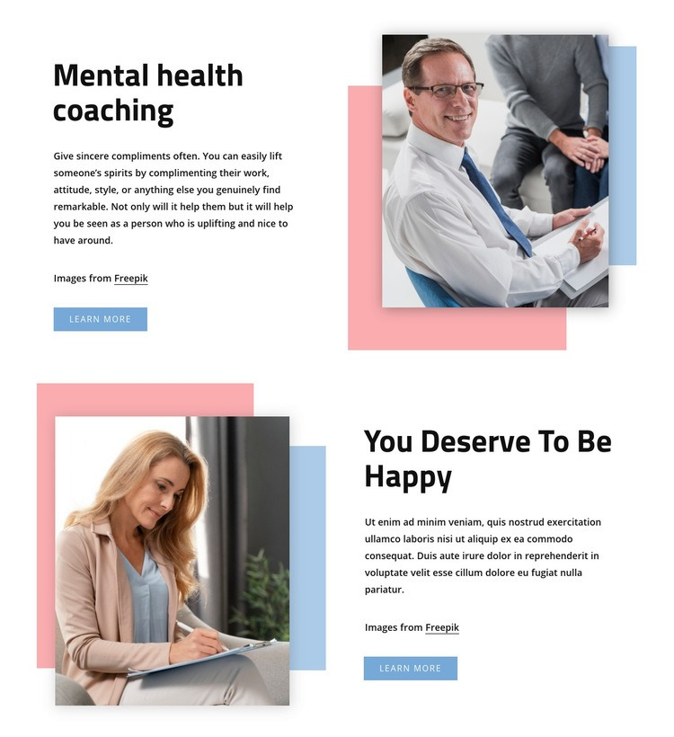 Mental health coaching Web Page Design